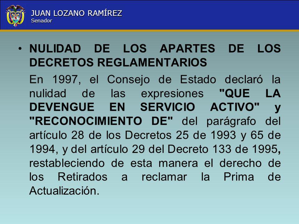 NULIDAD DE LOS APARTES DE LOS DECRETOS REGLAMENTARIOS
