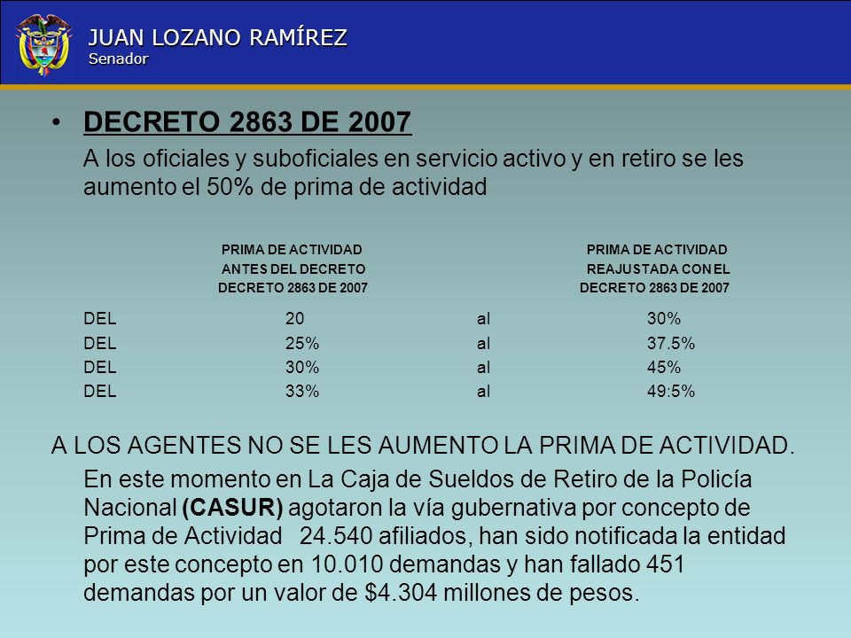 DECRETO 2863 DE 2007A los oficiales y suboficiales en servicio activo y en retiro se les aumento el 50% de prima de actividad.
