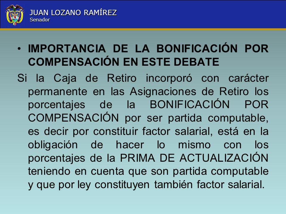 IMPORTANCIA DE LA BONIFICACIÓN POR COMPENSACIÓN EN ESTE DEBATE