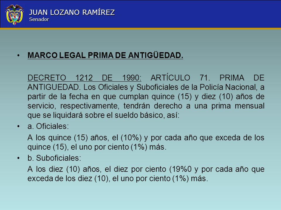 MARCO LEGAL PRIMA DE ANTIGÜEDAD.
