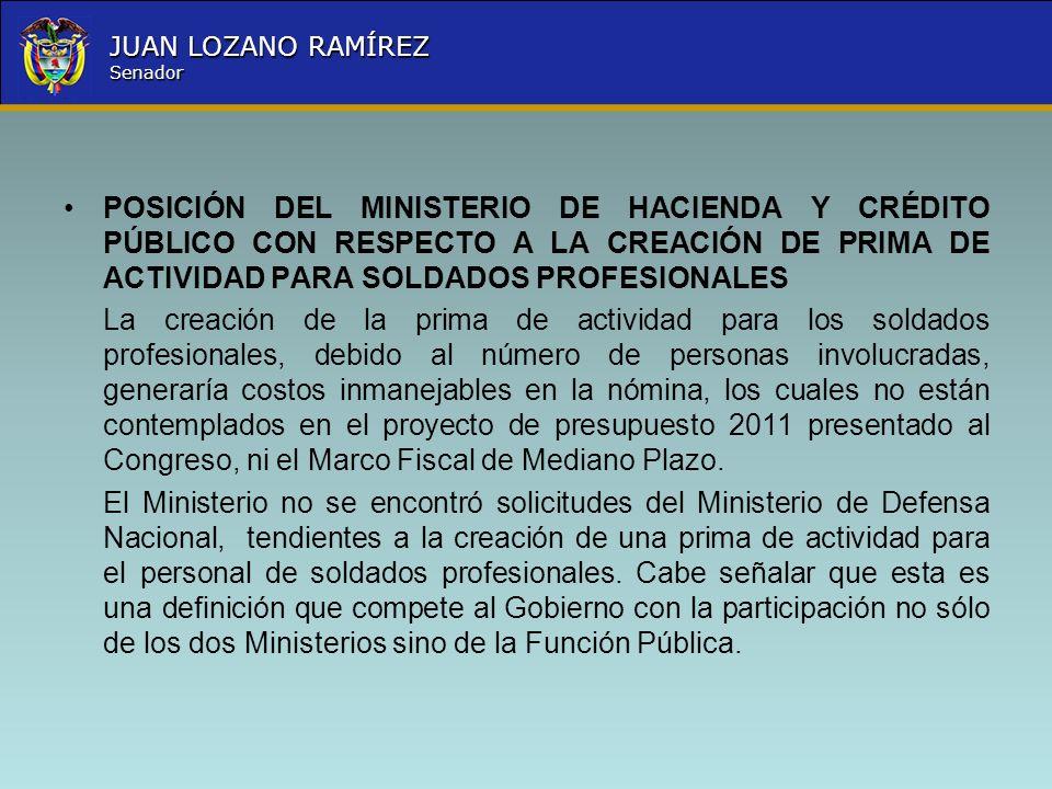 POSICIÓN DEL MINISTERIO DE HACIENDA Y CRÉDITO PÚBLICO CON RESPECTO A LA CREACIÓN DE PRIMA DE ACTIVIDAD PARA SOLDADOS PROFESIONALES