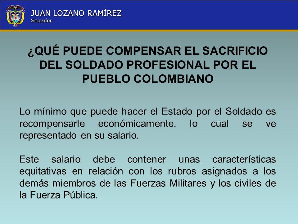 ¿QUÉ PUEDE COMPENSAR EL SACRIFICIO DEL SOLDADO PROFESIONAL POR EL PUEBLO COLOMBIANO