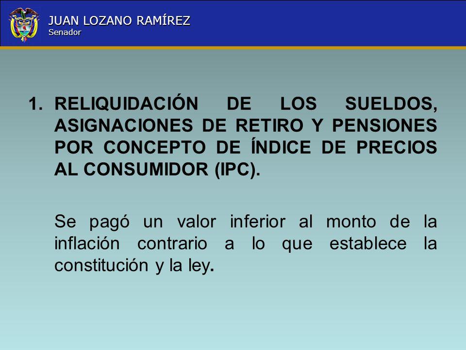 RELIQUIDACIÓN DE LOS SUELDOS, ASIGNACIONES DE RETIRO Y PENSIONES POR CONCEPTO DE ÍNDICE DE PRECIOS AL CONSUMIDOR (IPC).