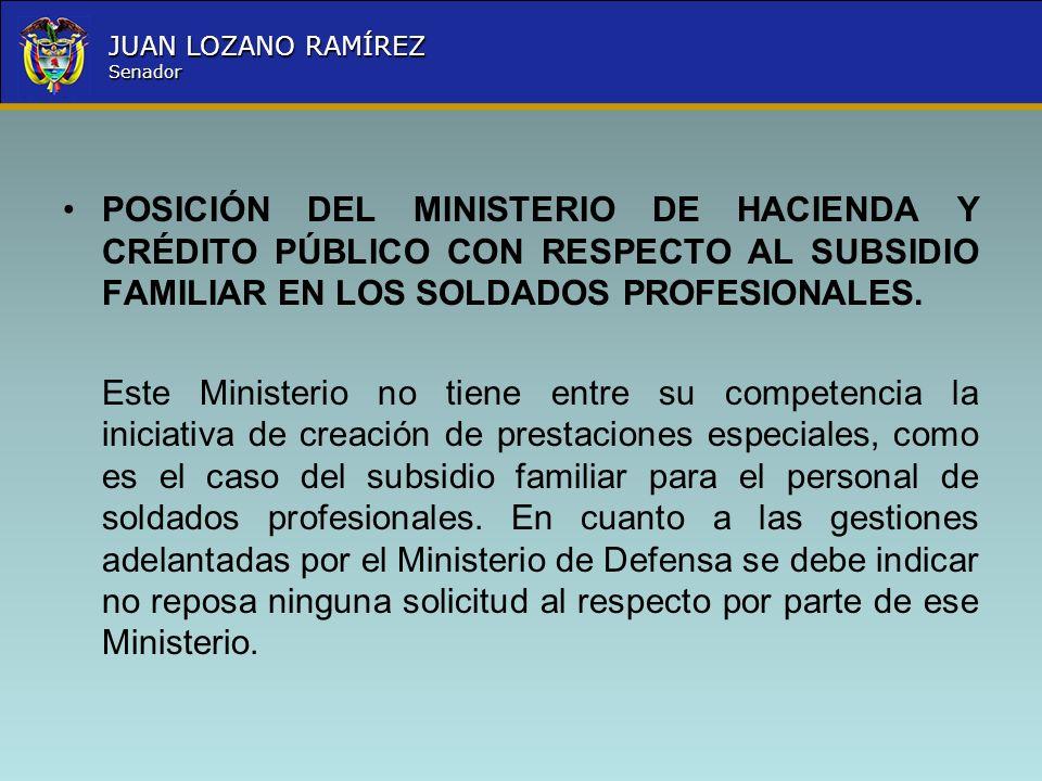 POSICIÓN DEL MINISTERIO DE HACIENDA Y CRÉDITO PÚBLICO CON RESPECTO AL SUBSIDIO FAMILIAR EN LOS SOLDADOS PROFESIONALES.