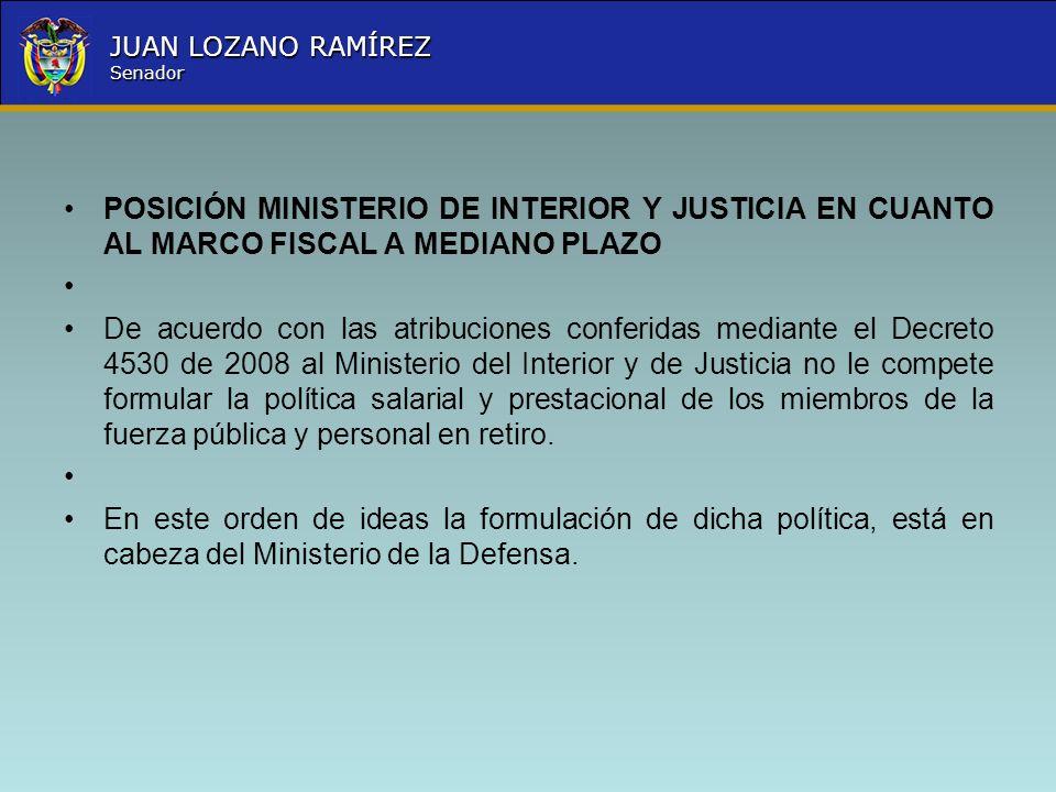 POSICIÓN MINISTERIO DE INTERIOR Y JUSTICIA EN CUANTO AL MARCO FISCAL A MEDIANO PLAZO