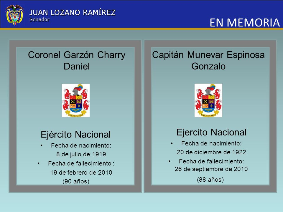 EN MEMORIA Coronel Garzón Charry Daniel
