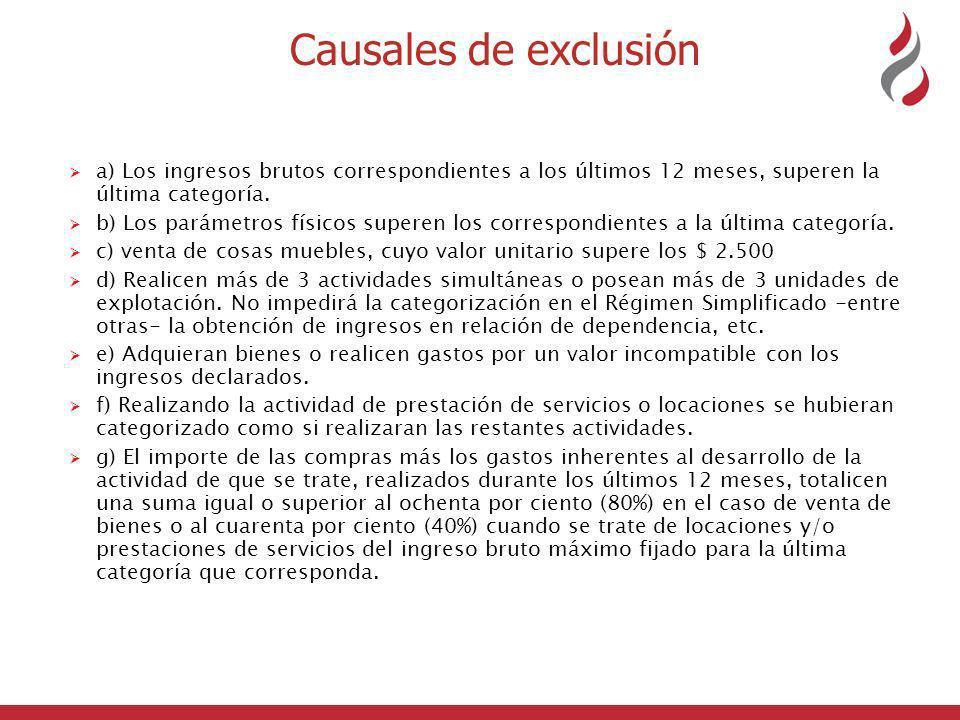 Causales de exclusión a) Los ingresos brutos correspondientes a los últimos 12 meses, superen la última categoría.