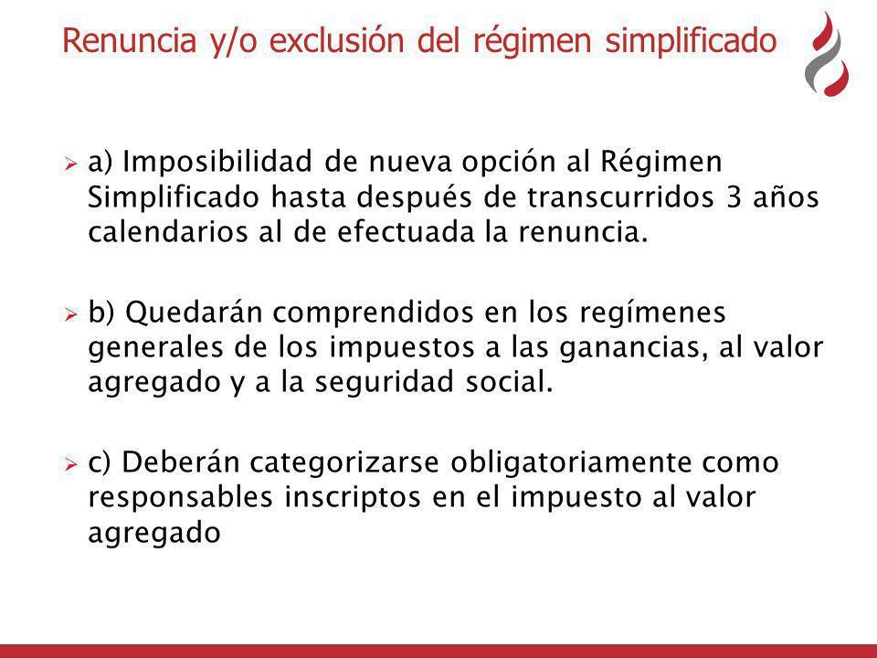 Renuncia y/o exclusión del régimen simplificado