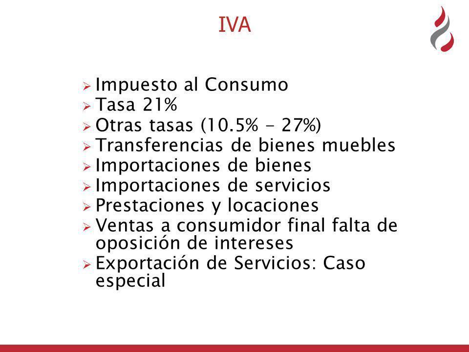 IVA Impuesto al Consumo Tasa 21% Otras tasas (10.5% - 27%)