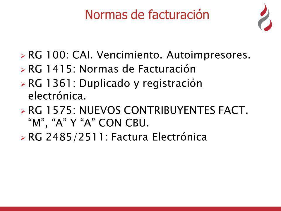 Normas de facturación RG 100: CAI. Vencimiento. Autoimpresores.