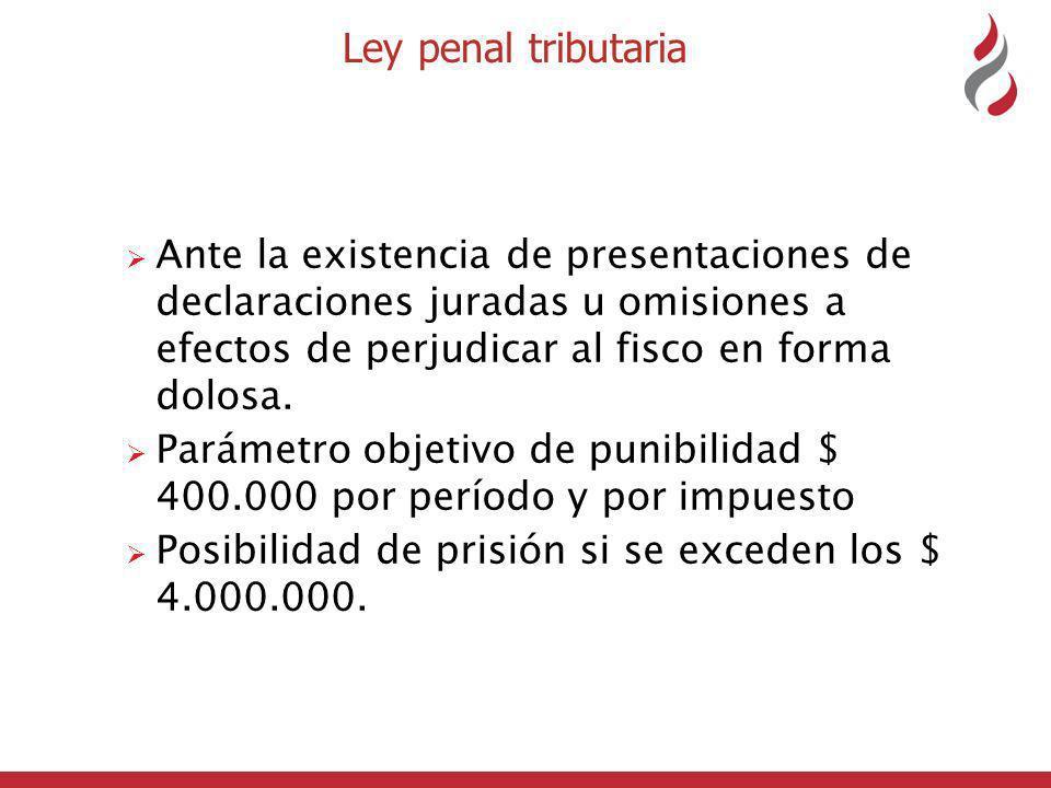 Ley penal tributaria Ante la existencia de presentaciones de declaraciones juradas u omisiones a efectos de perjudicar al fisco en forma dolosa.