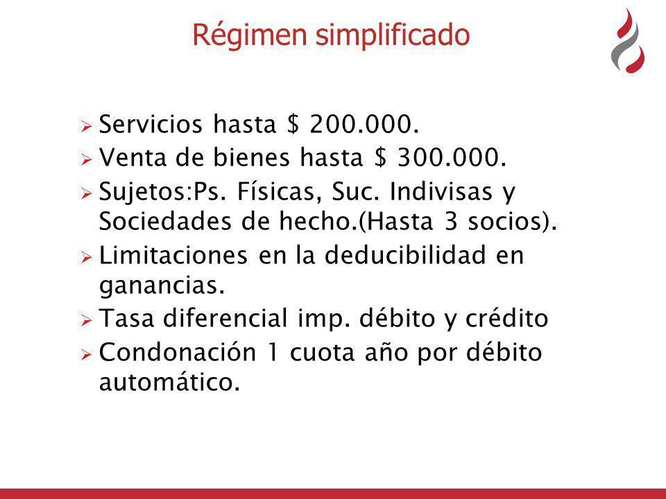 Régimen simplificado Servicios hasta $ 200.000.