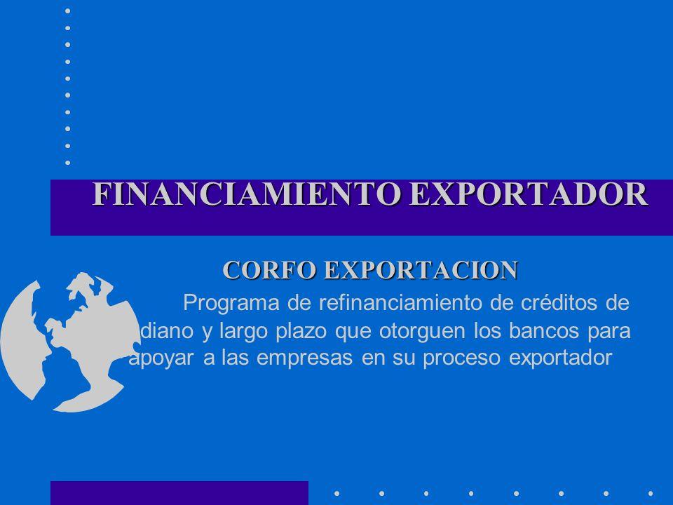 FINANCIAMIENTO EXPORTADOR CORFO EXPORTACION Programa de refinanciamiento de créditos de mediano y largo plazo que otorguen los bancos para apoyar a las empresas en su proceso exportador