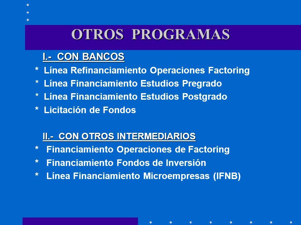 OTROS PROGRAMAS I.- CON BANCOS