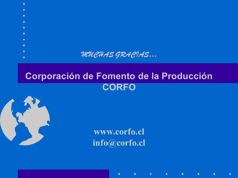 MUCHAS GRACIAS… Corporación de Fomento de la Producción CORFO www
