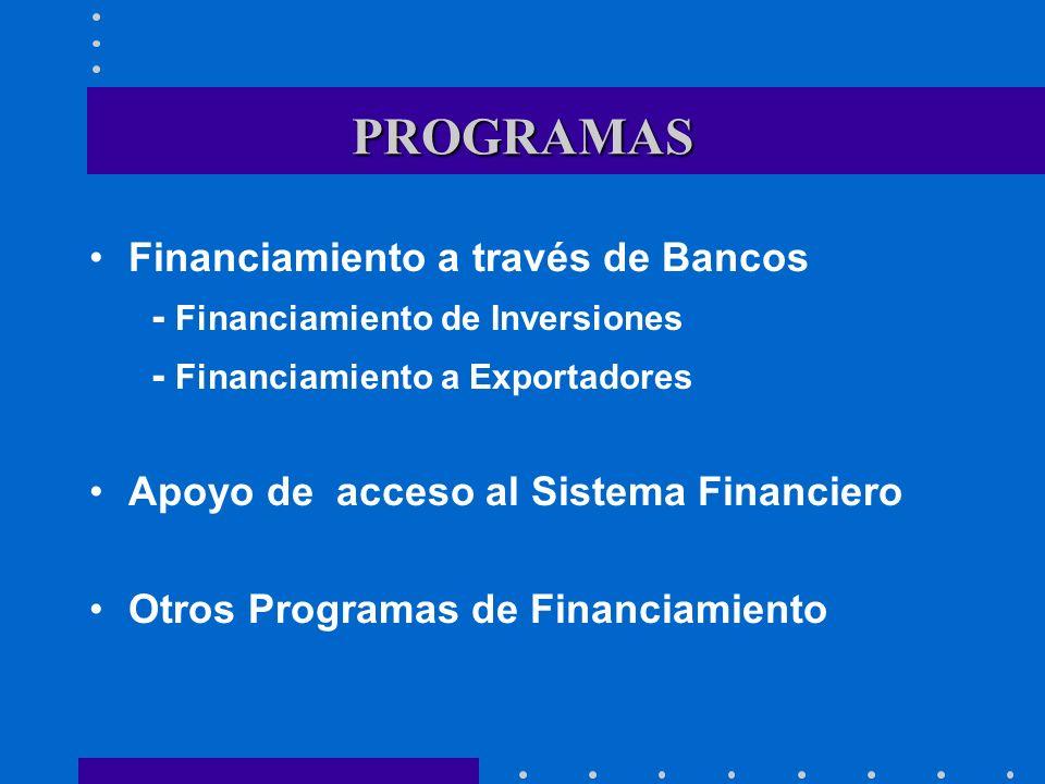 PROGRAMAS Financiamiento a través de Bancos