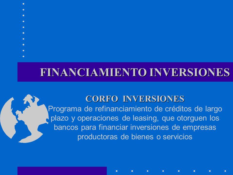 FINANCIAMIENTO INVERSIONES CORFO INVERSIONES Programa de refinanciamiento de créditos de largo plazo y operaciones de leasing, que otorguen los bancos para financiar inversiones de empresas productoras de bienes o servicios
