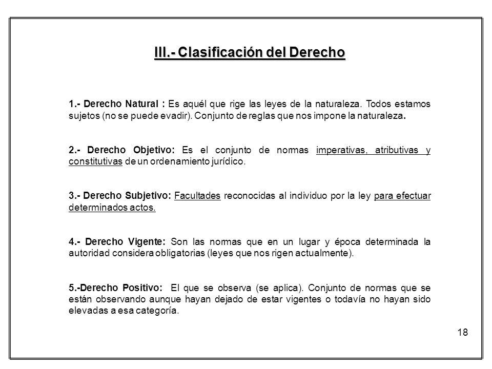 III.- Clasificación del Derecho