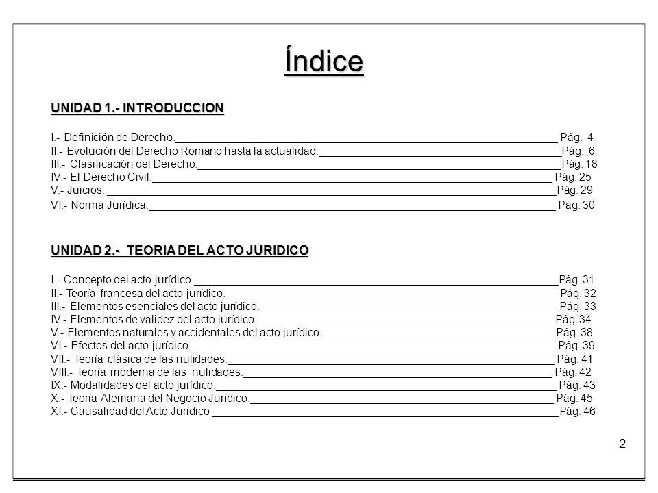 Índice UNIDAD 1.- INTRODUCCION UNIDAD 2.- TEORIA DEL ACTO JURIDICO