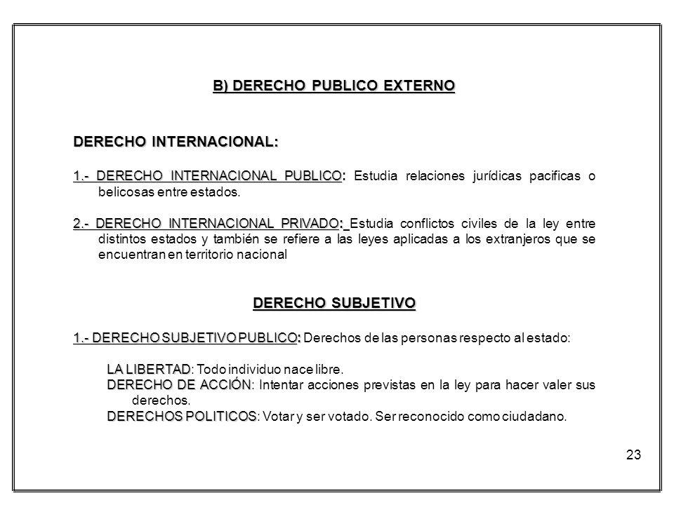B) DERECHO PUBLICO EXTERNO