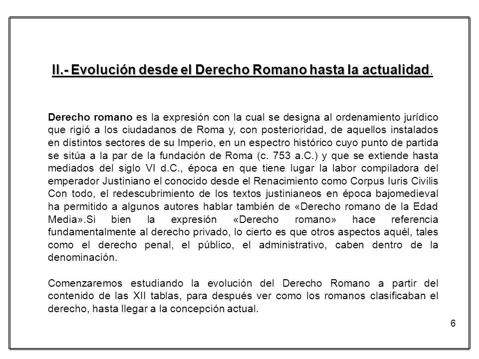 II.- Evolución desde el Derecho Romano hasta la actualidad.