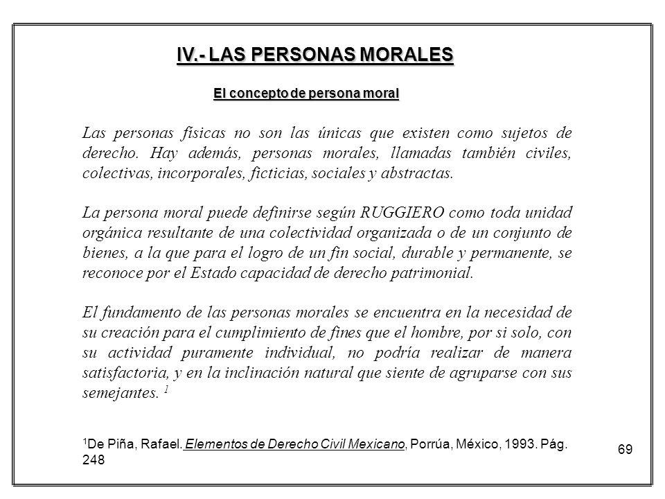 IV.- LAS PERSONAS MORALES