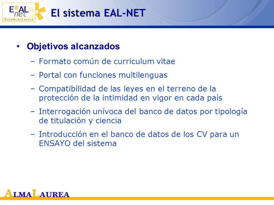 El sistema EAL-NET Objetivos alcanzados