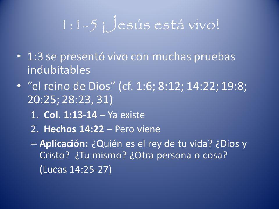 1:1-5 ¡Jesús está vivo! 1:3 se presentó vivo con muchas pruebas indubitables. el reino de Dios (cf. 1:6; 8:12; 14:22; 19:8; 20:25; 28:23, 31)