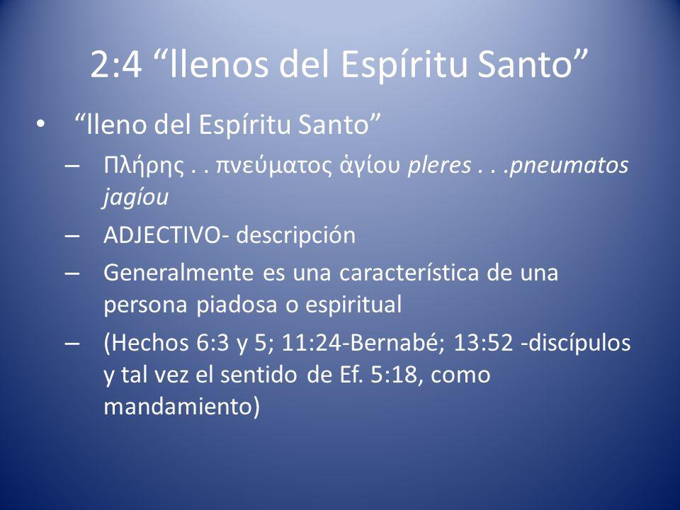 2:4 llenos del Espíritu Santo
