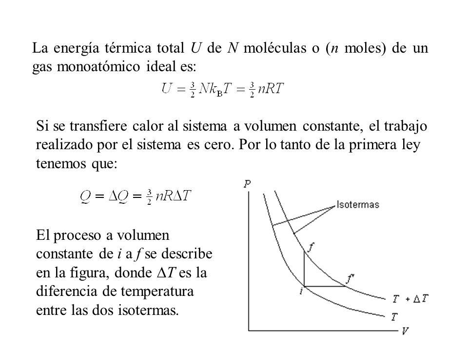 La energía térmica total U de N moléculas o (n moles) de un gas monoatómico ideal es: