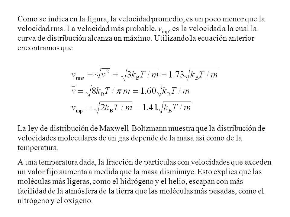 Como se indica en la figura, la velocidad promedio, es un poco menor que la velocidad rms. La velocidad más probable, vmp, es la velocidad a la cual la curva de distribución alcanza un máximo. Utilizando la ecuación anterior encontramos que