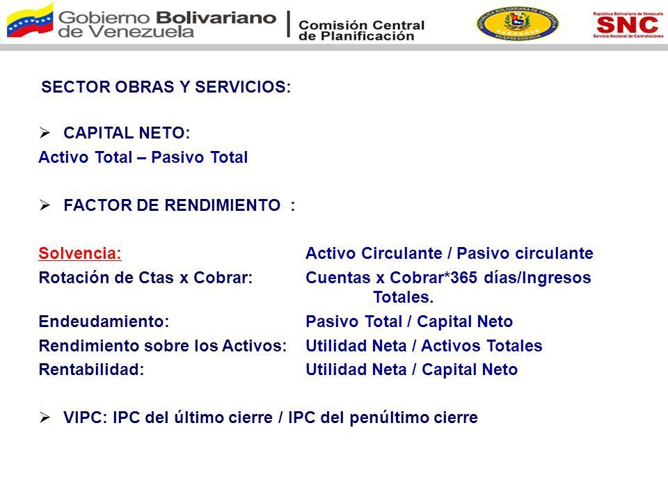 SECTOR OBRAS Y SERVICIOS:
