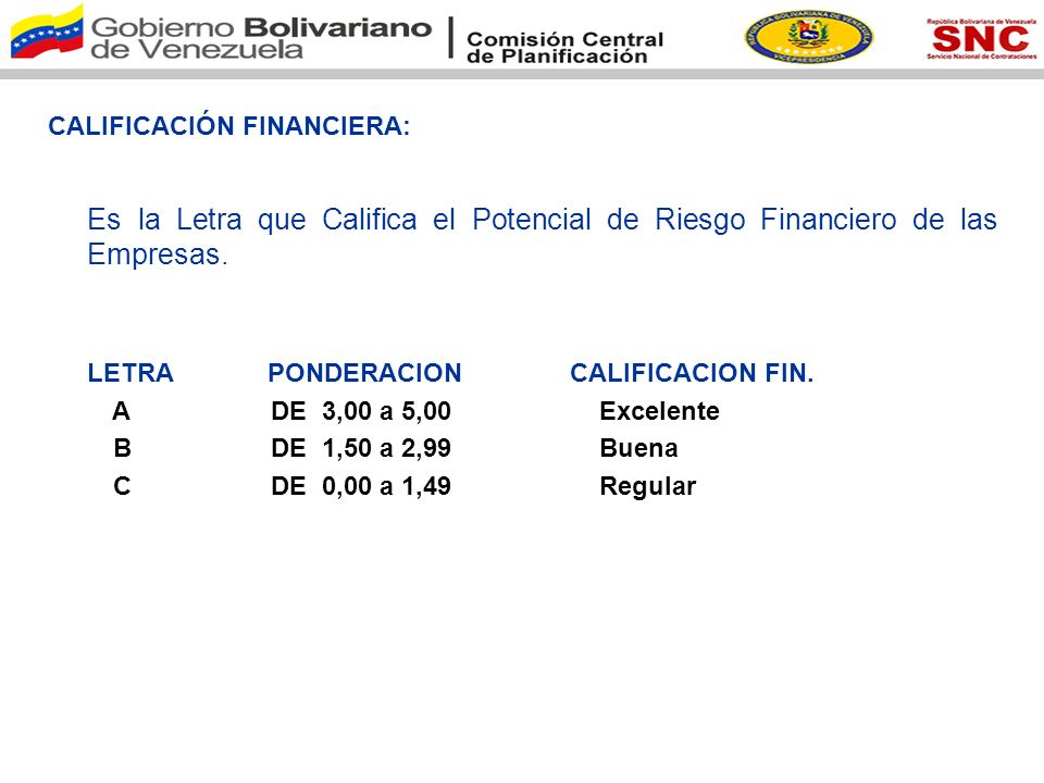 CALIFICACIÓN FINANCIERA: