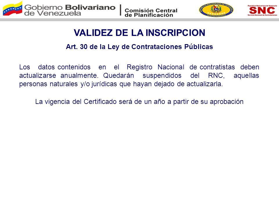VALIDEZ DE LA INSCRIPCION Art. 30 de la Ley de Contrataciones Públicas