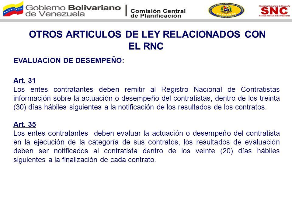 OTROS ARTICULOS DE LEY RELACIONADOS CON EL RNC