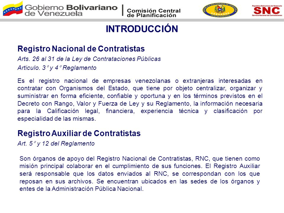INTRODUCCIÓN Registro Nacional de Contratistas