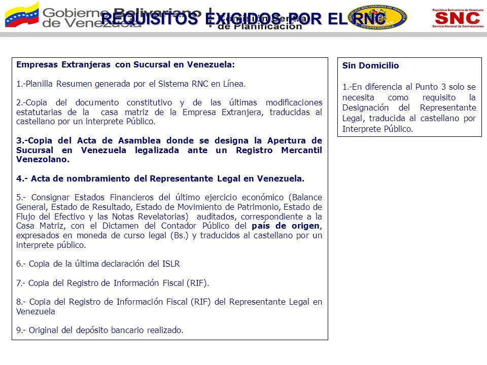 REQUISITOS EXIGIDOS POR EL RNC