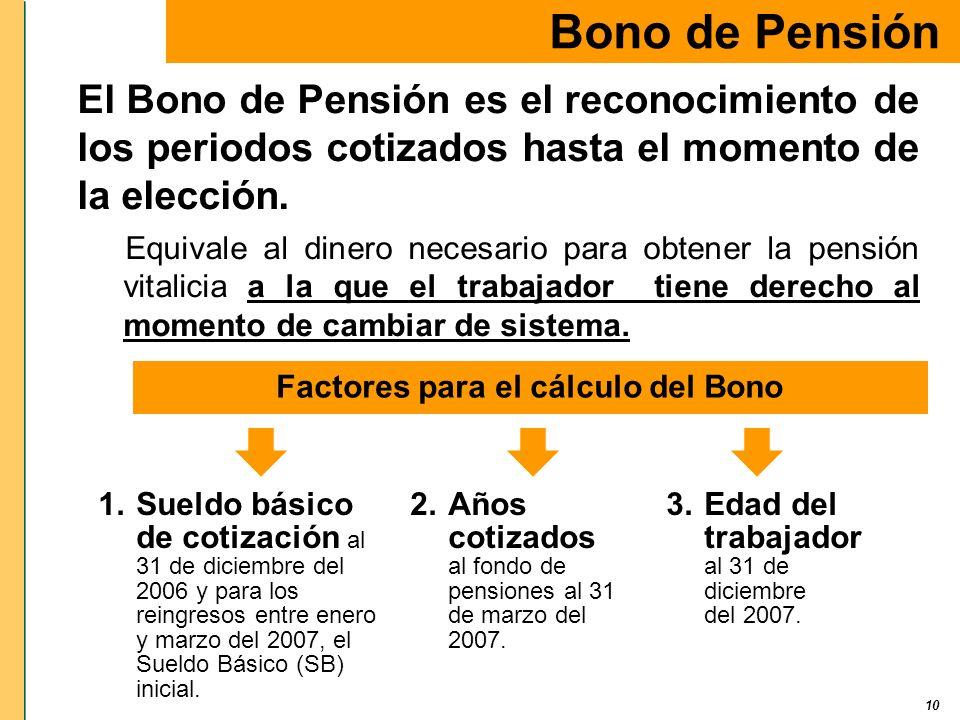 Factores para el cálculo del Bono