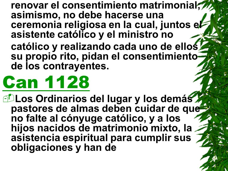 renovar el consentimiento matrimonial; asimismo, no debe hacerse una ceremonia religiosa en la cual, juntos el asistente católico y el ministro no