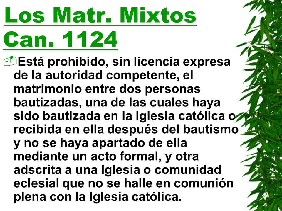 Los Matr. Mixtos Can. 1124.