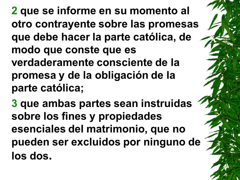 2 que se informe en su momento al otro contrayente sobre las promesas que debe hacer la parte católica, de modo que conste que es verdaderamente consciente de la promesa y de la obligación de la parte católica;