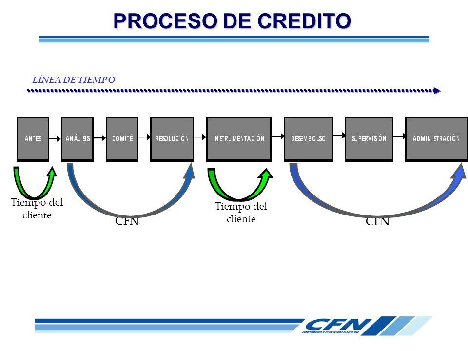 PROCESO DE CREDITO CFN CFN Tiempo del cliente Tiempo del cliente