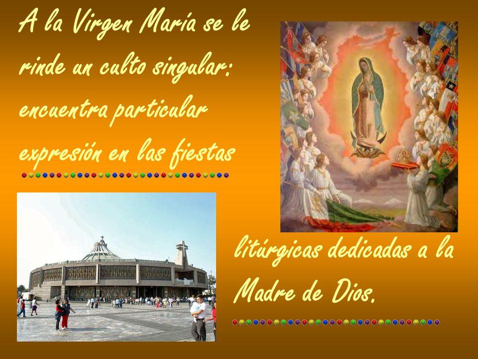 A la Virgen María se le rinde un culto singular: encuentra particular. expresión en las fiestas. litúrgicas dedicadas a la.