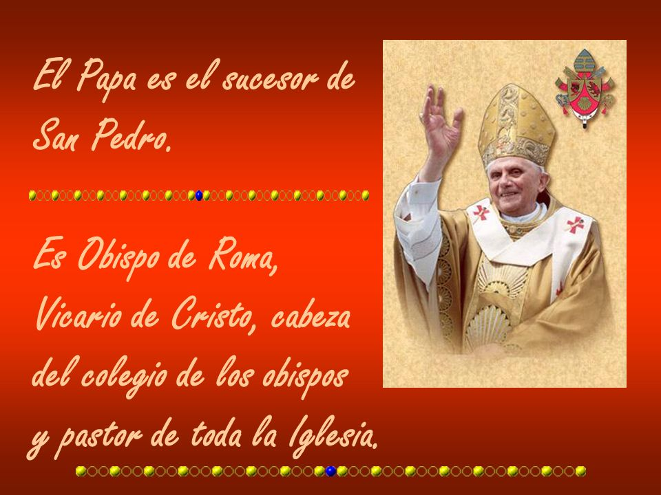 El Papa es el sucesor deSan Pedro. Es Obispo de Roma, Vicario de Cristo, cabeza. del colegio de los obispos.