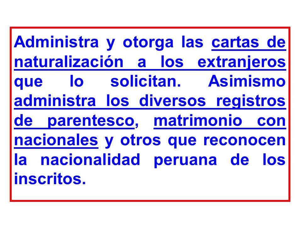Administra y otorga las cartas de naturalización a los extranjeros que lo solicitan.