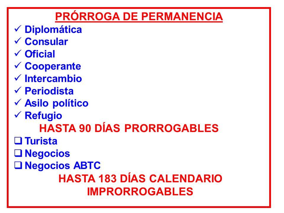PRÓRROGA DE PERMANENCIA HASTA 183 DÍAS CALENDARIO IMPRORROGABLES