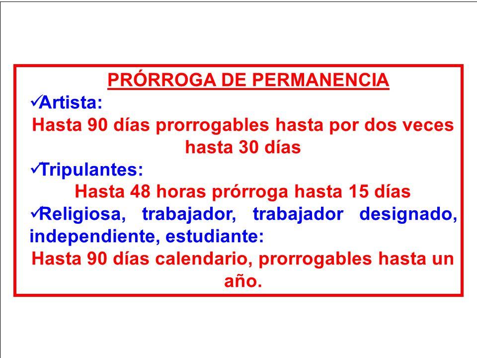 PRÓRROGA DE PERMANENCIA Artista: