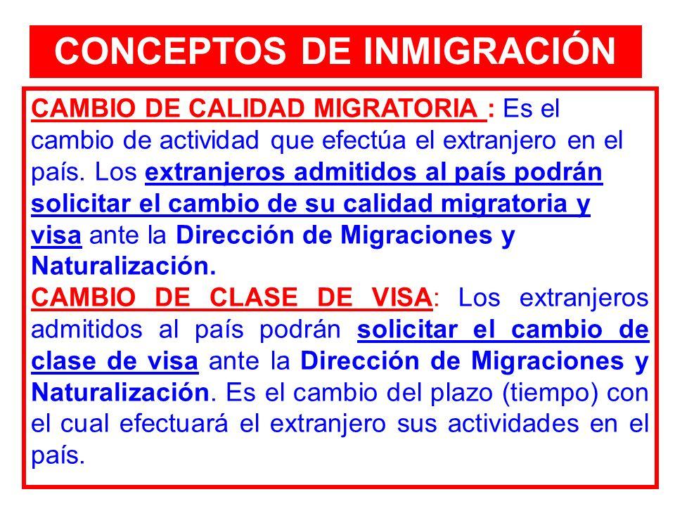 CONCEPTOS DE INMIGRACIÓN