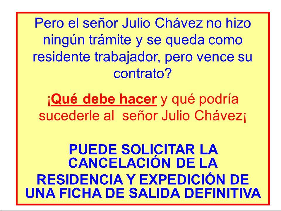¡Qué debe hacer y qué podría sucederle al señor Julio Chávez¡
