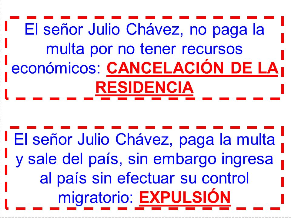 El señor Julio Chávez, no paga la multa por no tener recursos económicos: CANCELACIÓN DE LA RESIDENCIA
